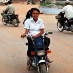 Local girls follow us on moto